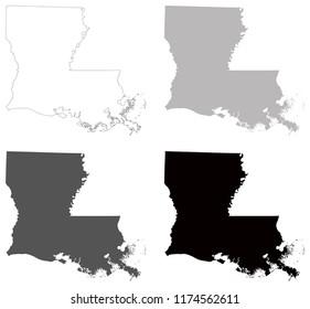 vector illustration of Louisiana maps