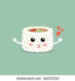 Vector illustration of a love cartoon roll, sushi. Roll California. Philadelphia roll. Cute japanese food. Eps 10