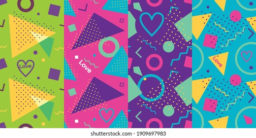 Vector illustration Love Colorful vibrant Background with memphis style