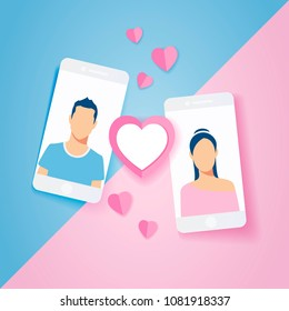 Vector illustration love couple in mobile phone sent pink heart and love gift, design for Valentine's day in paper art style.