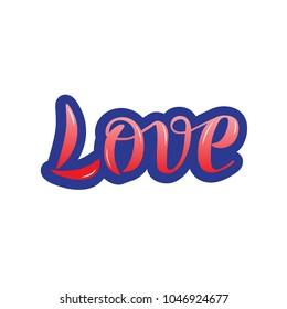 Vector illustration of Love handwritten text. Ink hand lettering. Modern brush calligraphy.