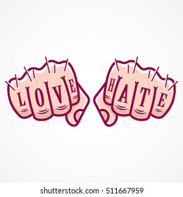 Vector illustration of Love and Hate tattooed on a pair of hands