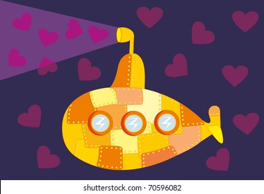 Vector illustration. Love submarine