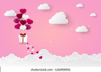 Vector Illustration of love and valentine day, balloon heart shape hang the gift box float on the sky.paper art and digital craft style