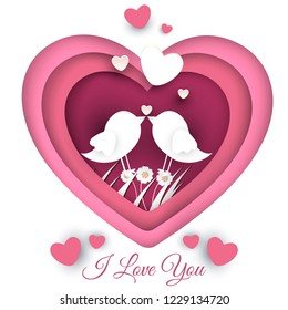 Vector illustration of love and Valentine's Day with hearts, loving birds and flowers. Paper-cut style. Vector illustration in pink