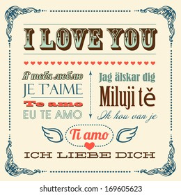 A vector illustration of I love you word in different languages