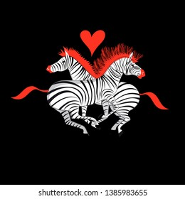 Vector illustration with love zebras on a black background