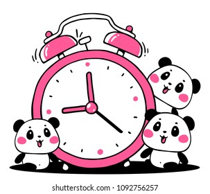 Vector illustration of lovely cartoon panda sit near a big alarm clock on white background. Happy little cute panda. Flat line art style hand drawn design for poster, greeting card, tshirt, sticker
