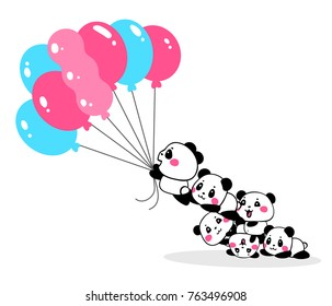 Vector illustration of lovely cartoon pandas take off with bundle of pink and blue color balloons on white background. Happy little cute panda. Flat line art style hand drawn design for poster, card
