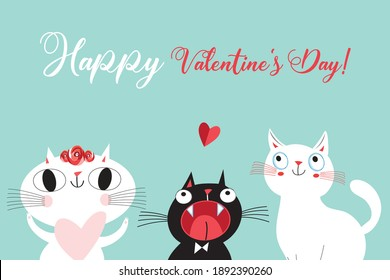 Vector illustration of a lovely cats in love with a heart on a light background. For Valentine's day or for a holiday card or poster.