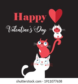 Vector illustration of a lovely cats in love with a heart on a black background. For Valentine's day or for a holiday card or poster