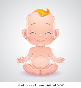 Vector illustration. Lovely smiling baby in yoga pose