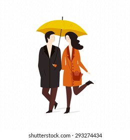 Vector illustration of a loving couple under an umbrella in the rain.