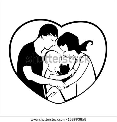 Vector Illustration Loving Family Heart Frame Stock Vector (Royalty ...
