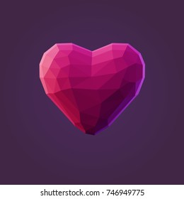 Vector illustration of low poly heart. Isolated on blue background