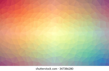 Vector and illustration of a low polygon background with a rainbow gradient.