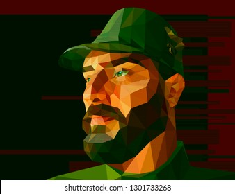 Vector illustration in low polygon style. A man with large expressive features, a thick beard, a crook-nose and slightly slanting eyes is dressed in military uniform and a cap with a visor.