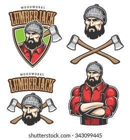 Vector illustration of lumberjack emblems, labels, badges, logos with text. Isolated on white background.