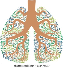 vector illustration of lungs looking like a tree