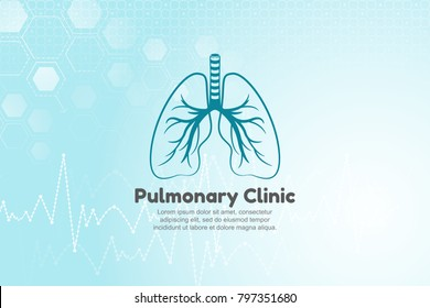 Vector illustration of lungs for pulmonary clinic. Blue medical background with structure molecule and heart beat.