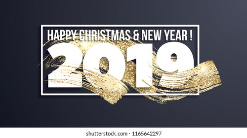 Vector illustration. Luxurious 2019 with a golden texture on white and on a dark background. Graphic design Merry Christmas and Happy New Year 2019 design elements for design of gift cards, brochures.