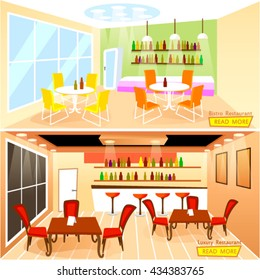 Vector illustration of Luxury and Bistro restaurant bar interior in flat style.Template for horizontal web banner or menu