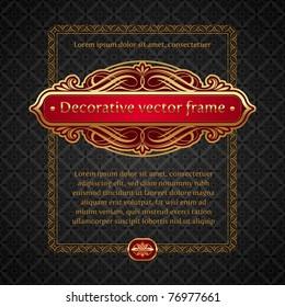 Vector illustration - Luxury golden vintage calligraphic framed labels