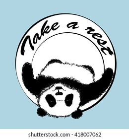 """Vector illustration with lying Panda """"Take a rest""""."""