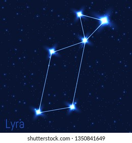 Vector illustration of Lyra constellation. Astronomical Lyre or harp. Cluster of realistic stars in the dark blue starry sky.