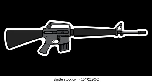 Vector illustration of a M16 automatic assault rifle on a black background