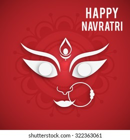 Vector illustration of Maa Durga in a colourful background for Happy Navratri.
