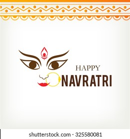 Vector illustration of Maa Durga with rangoli for Happy Navratri festival.