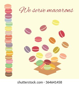 vector illustration / macarons in box / we serve macarons lettering