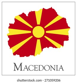 Vector illustration of Macedonia flag map.