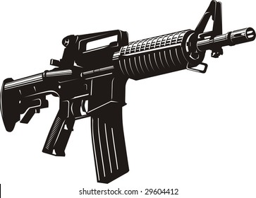 Vector illustration of a machine gun