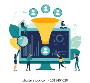 Vector illustration, machine learning management, big data analysis concept, digital marketing funnel, Lead generation with clients, marketing