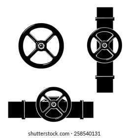 A vector illustration of a machines pipe with valve wheel. Industrial Valves. Pipe with metal valve attached.