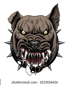 Vector illustration of mad dog head.
