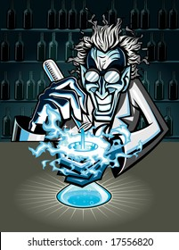 Vector illustration of a mad scientist experimenting with some sort of highly toxic or radioactive chemicals causing a fiery reaction.