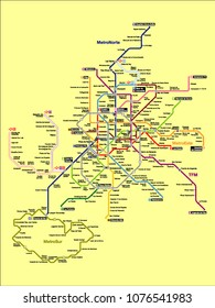 Vector illustration of the Madrid Subway Map