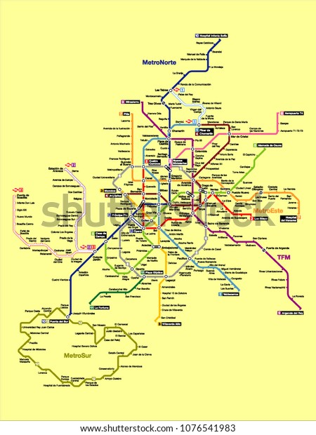 Subway Map For Madrid.Vector Illustration Madrid Subway Map Stock Vector Royalty Free