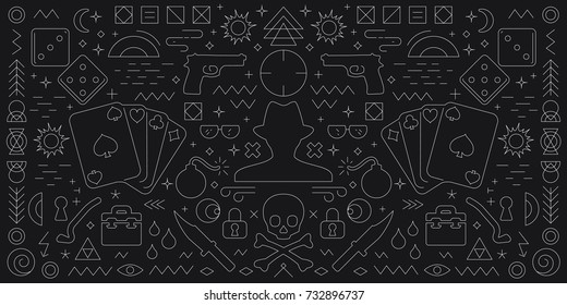 vector illustration of mafia and criminals symbols black and white horizontal banner if flat line style