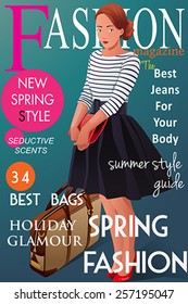 A vector illustration of magazine cover about  spring fashion style