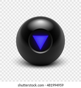 Vector illustration Magic 8 ball. Eight. Isolated on a transparent background. EPS 10