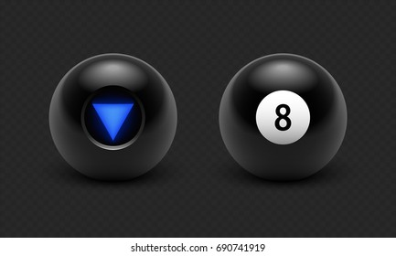 Vector illustration Magic 8 ball set. Eight. Isolated on a transparent black checkered background. EPS 10