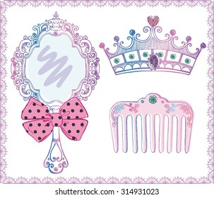 Vector illustration of magic beautiful accessories for little girl, princess or fairy. Useful set of detailed sketch elements in lace frame for your design isolated on white background. Doodle tools
