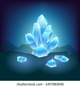Vector illustration of magic crystals, gems and glitter sparkle on a black background in the cave minerals glow with blue lights mysterious artifacts
