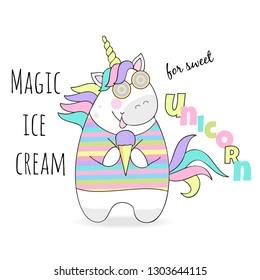 vector illustration of magic cute unicorn with ice cream, children's print on t-shirt
