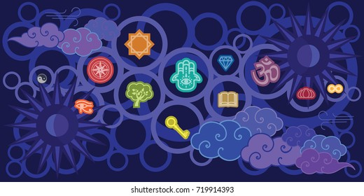 vector illustration of magic and spiritual colorful symbols on dark blue sky background for mental concepts and astral projection meditation designs