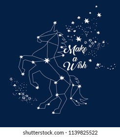 Vector illustration of magic unicorn constellation, polygonal art, geometric design with hand drawn (with a tablet) stars, lettering make a wish, fashion print for t shirt with celestial star map